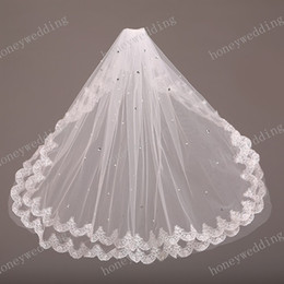 Wholesale Short Crystal Veils - Lace Bridal Veils Sparkling Crystal Wedding Veils Two Layers Elbow Length Short Bridal Veil For Weddng Dresses Bridal Accessories Cheap