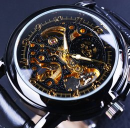 Wholesale Orkina Mens - Wholesale-Orkina Black Skeleton Designer Flower Engraving Genuine Leather Strap Mens Watches Top Brand Luxury Automatic Watch Montre Homme