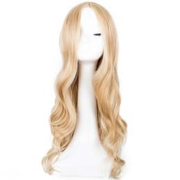 Línea muestra online-Cosplay peluca Fei -Show sintético largo y rizado línea de parte media Rubio mujeres traje de pelo Carnaval Fiesta de Halloween Salon Hairpiece