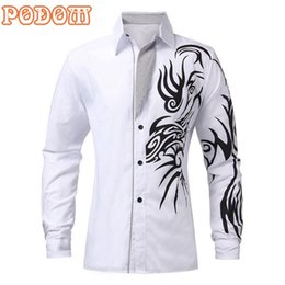 Wholesale Autumn Tattoos - Podom 4 Color 2015 Men Autumn New Fashion Slim Long Sleeve Dress Shirts Novelty Dragon Tattoo Printed Casual Shirt Camisa S-XL FG1511