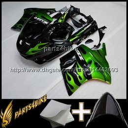 Wholesale Zx11 Fairings - 23colors+8Gifts GREEN motorcycle cowl for Kawasaki ZX11R 93 01 ZX-11R ZZR1100 1993 2001 93 94 95 96 97 98 99 00 01 ABS Plastic Fairing