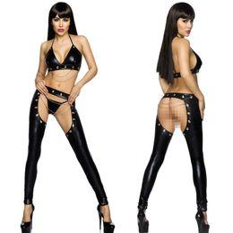 Wholesale Chiffon Pants Lingerie - Women Exotic Apparel Sexy Cosplay Lingerie Suit Pole Dance Clothing Nightclub Bar DJ PU Costume Black PVC Leather Bra Pants Set