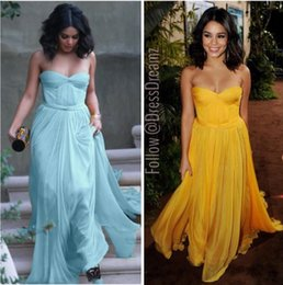 Wholesale Celebrity Dresses Selena - Hot Sale 2016 Selena Gomez Flawless Celebrity Evening Dress Ruched Sweetheart Neck YellowChiffon A Line Floor Length Party Prom Dresses