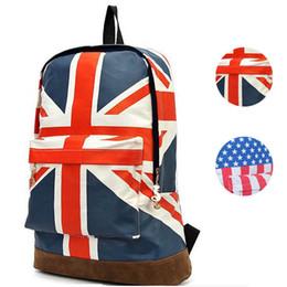 Wholesale Travel Bags British Flag - Wholesale-Hot Sale Men Women Girls Oversize Travel Backpack US British Flag Union Jack Style Backpack Shoulder School Bag BackPack Canvas