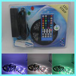 Wholesale Led Flexible Strip Pcb - 10SETS LED Strip Blister Kit 300LED 5050 SMD RGBW RGBWW PCB black waterproof non-waterrpoof amazing flexible tape