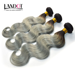 Wholesale Two Bundles Hair Weaving - Ombre Silver Grey Brazilian Human Hair Extensions Two Tone 1B Grey Peruvian Malaysian Indian Cambodian Body Wave Human Hair Weave Bundles