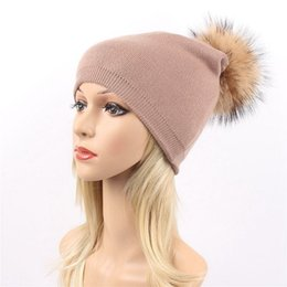 Wholesale Cream Layer - Women ladies knit fashion beanie hat two layers with a large removable real natural raccoon fur pom in 8 colors free express shipping(LY013)