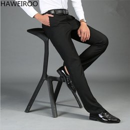Wholesale wedding full suit men - Wholesale- HAWEIROO Size 30-44 Wrinkle Free Wedding Black Mens Formal Pants Office Workwear Casual Men Suit pant Slim Business Long Trouser