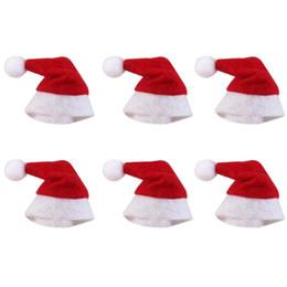 Wholesale Red Mini Top Hats - Cute Mini Red Santa Claus Hat for Candy Lollipop Decor DIY mini Christmas Xmas Gift Lollipop Top Topper Cover Festival Decor