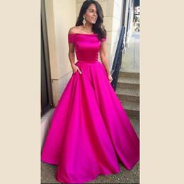 Elegante New Longo Elegante Fúcsia Prom Vestidos Baratos 2016 Barco Pescoço Uma Linha Longa Formal Prom Party Vestidos de Noite Vestidos De Noite de