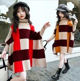 Wholesale Sweater Korean Girl - Big Girls Plaid Knit Sweater Korean Fashion Check Batwing Sleeve Children pullover New 2017 Winter Loose Kids Cusaul Outwear C2458