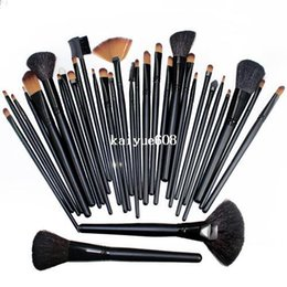 Wholesale Lady Goats - Free Shipping! 32PCS (1Set) Women's Lady Professional Makeup Brush Set Toiletry Kit Makeup Brushes + Black Leather Case