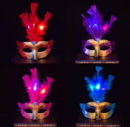 Poudre de fête bleue en Ligne-Halloween Party 3 pcs En Cuir LED Masquerade Masques Femmes Mode Or Poudre Demi Visage Carnaval Masques Violet Rouge Bleu Jaune Rose Bourgogne