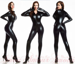 Wholesale Sexy Wetlook Dress - Sexy Lingerie Black Catwoman False Leather Wetlook Jumpsuit Catsuit Clubwear Fancy Dress 7055