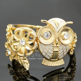 Wholesale Owl Enamel Ring - Gold & White Greek Athena Wisdom Owl Flower Leaf Hinged Bracelet Bangle Cuff Jewelry Free Shipping