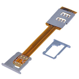 Wholesale Iphone 5c Dual Sim - Wholesale-For Apple iPhone 4 4s 5 5S 5C Dual Sim Card Adapter Single Standby Flex Cable Ribbon for ios 7 Free shipping