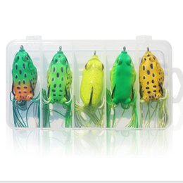 Wholesale Good Quality Lures - free shipping hot 5pcs set soft frog lure with hooks 5.5cm 13g fishing lure good quality