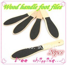Wholesale Wood File Handles Wholesale - Wholesale-New 2015!!20pcs lot Double Sided Foot Rasp File wood foot files for nail art Callus Remover Pedicure Wood Handle+Free shipping