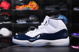 Wholesale Fiber Sports - Air Retro 11 UNC Win Like 82 Midnight Navy Men Basketball Shoes Sneakers Jumpman 11s Sports Shoes Real Carbon Fiber Blue White Shoes