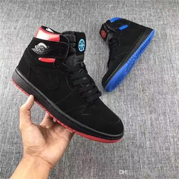 Wholesale Quai 54 - 2017 Release Air Retro 1 Retro High OG Quai 54 Black Red And Bule Men Basketball Sneakers Original Sports Basketball Shoes With Box