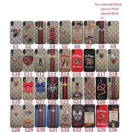 Wholesale Snake Wholesalers - New luxury Brand Snake tiger animal Famouse Embroidery case for iPhone X 6s 6Plus 7 7Plus 8 8plus Back Cover with retail box
