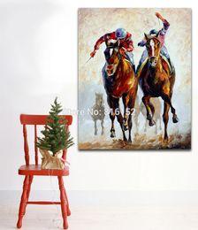 tela di pittura per ufficio moderno Sconti Palette Knife Oil Painting Horse Riders Immagine stampata su tela Murale Art Modern Home Living Hotel Office Wall Decor