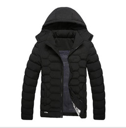 Wholesale Yellow Denim Jacket Men - Brand Men Winter Warm Down Jackets Cotton Padded Jacket Sport coat Hooded Padded Parkas with logo Clothing