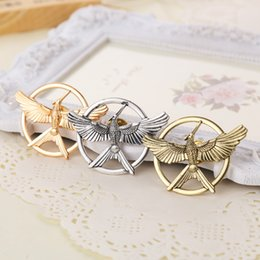 Wholesale Rose Gold Brooches - The Hunger Games jewelry rose gold Brooches Inspired Mockingjay And Arrow Hot Movie Hunger Games Bird Brooch Pins For Women And Men