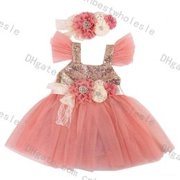 Wholesale Dress Flower Headband - Hot Sell Kids Girls Tulle Lace Sequins Party Dresses 2016 Baby Girl TuTu Princess Dress +3D Flower Headband +Waistband Babies clothes