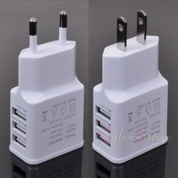 Wholesale Power Euro - US Euro Plug 5V 2.0A 3 USB Ports Smart Fast IC Wall Charger Power Adapter For iphone Samsung Huawei, Tab, tablet sony