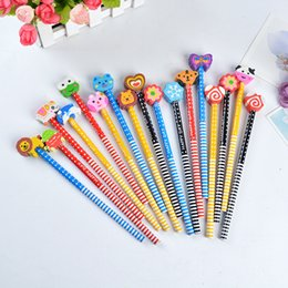 Wholesale Wooden Pencils Set - Wholesale- 100PCS Pencil With Eraser Cartoon Animals Series Wooden Children Pencils For Kid School Office Supply