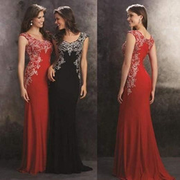 Wholesale Elegant Sweetheart Sequin Prom Dress - 2015 Amazing beads Crystal Evening prom Dresses With Sweetheart Appliques Sheath Long Chiffon Elegant Red Black Prom Pageant Party Gowns