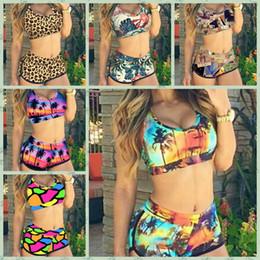 Wholesale Short Suits For Ladies - New 2016 Summer Retro Sexy Print Bikinis Set Vintage High Waist Shorts Bikini Swimsuit Ladies' Swimwear Push Up Bathing Suits For Women 4289