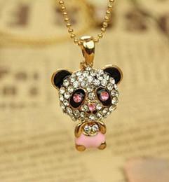 Wholesale Panda Pendant White Gold - shiny rhinestone super charm panda necklace jewelry pendant necklaces!Really nice!