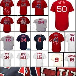 Wholesale Pedroia Jersey - stitched #50 Mookie Betts 34 Davi jersey Men 15 Dustin Pedroia 16 Andrew Benintendi 9 Ted Williams Baseball jerseys