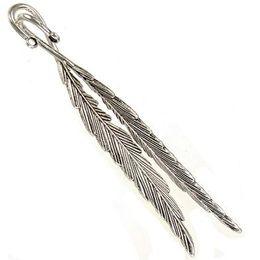 Argentina Gran marcador de lectura diy hallazgos de trabajo hecho a mano pluma curva doble accesorios de joyería de plata antigua de oficina papelería 118mm 30 unids Suministro