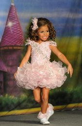 Wholesale Baby Pageant Dress Organza - Lovely 2015 Girls Pageant Dresses Crystal Little Dresses Cap Sleeves Oragnza Short Length baby pageant dresses