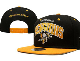 Wholesale Penguin Cap - Free shipping NHL Pittsburgh Penguins Snapback Snapback Embroidered Team logo Adjustable Cap Men & Women Classic Cap
