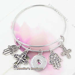 Wholesale Wholesale Faith Jewelry - New Arrival Fashion DIY Interchangeable Wire Bangles Religious Faith Cross Hand of Fatima Charms DIY Snap Bracelets Jewelry