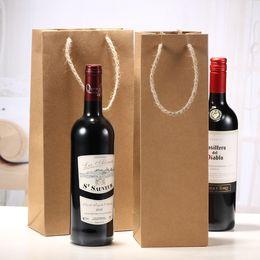 Wholesale Wholesale Paper Doors - High End Storage Bag Kraft Paper pure Colors Red Wine Bags Browm Saquare Liquid Pouch Factory Direct0 83sx B