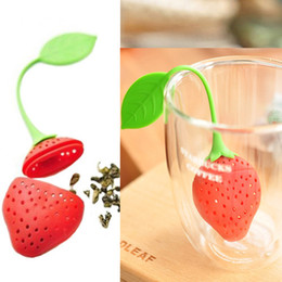 Wholesale Silicone Bag Free Shipping - Tea Leaf Strainer lovely Silicone Strawberry tea bag ball sticks Loose Herbal Spice Infuser Filter Tea Tools free shipping CB9