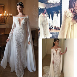 Wholesale Sexy Cowl Back Dress - 2016 Berta Lace Wedding Dresses With Wrap Off Shoulder Long Sleeves Chiffon Sexy Long Bridal Gowns Floor Length Custom Made Cowl Backs