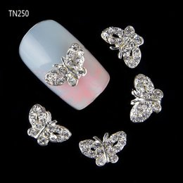 Wholesale Silver Nail Letter Art - Wholesale-10 pcs lot 3D Silver Butterfly Brand Letters Charm Nail Decorations Glitter Alloy Rhinestones DIY Nail Art Studs Tools TN250
