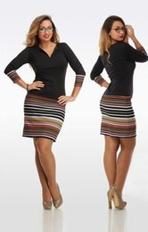 Wholesale Work Clothes Wholesale - Wholesale-Plus Size Dress L-6XL Long Sleeve V-Neck Bodycon Winter Dress New Fashion Striped Casual Pencil Women Work Dress women clothing