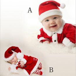 Wholesale Baby Chrismas Hats - Cute Baby Clothes Chrismas Costumes Sets 2017 Winter Toddler Girls Clothing Newborn Infantil Red Coat + Striped Pants + Hat 3pcs