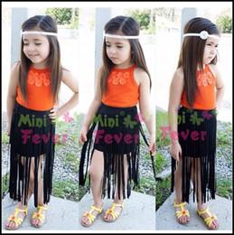 Wholesale Girl Candy Shirt - 2-7Y 2015 Fashion Girls Personal Style dress Set 2pcs floral candy shirt+Tassel dress kids clothes suits DHL free ship MOQ:6sets SVS0361#