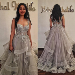Wholesale Grey Formal Dress Plus Size - Stunning Light Grey Lace Prom Dress Sweetheart Neck Beaded Evening Gowns Tiered 2018 New Formal Dresses