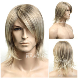 Wholesale New Wigs For Men - european straight men wigs short blonde wigs for men 2014 new arrival Synthetic fiber of 100% Kanekalon 1pc Lot Free Shipping 0729ZL39-18T22