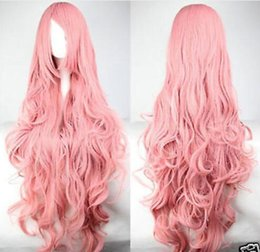 Wholesale Wig Vocaloid Curly - Wholesale free shipping >>>>Fashion Long Pink Curly Vocaloid Megurine Luka Cosplay Party Full Wig