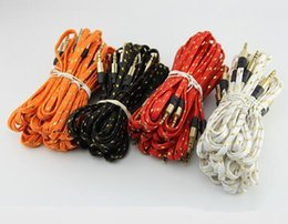 Wholesale Iphone 5s Mm - Braided Fabric 3.5mm Audio AUX Cable 1M 3FT 3.5 mm Male to Male for iPhone 4S 5 5S 6 6S